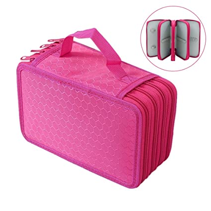 Toyvian Pencil Holder Organizer 4-Layer Colored Pencil Case Students Pen Pouch Bag Stationary Box with Zipper for Art School Office Travel 72 Slots (Rose Red)