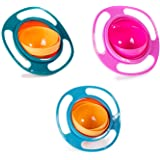 Berry President Magic Bowl 360 Degree Rotation Spill Resistant Gyro Bowl with Lid For Toddler Baby Kids Children, Set Of 3, Orange+Blue+Green