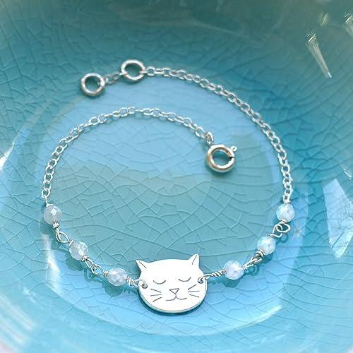 Pulsera de Plata Esterlina Personalizado con Pequeña Cara de Gato y Piedra Lunar, pulsera de