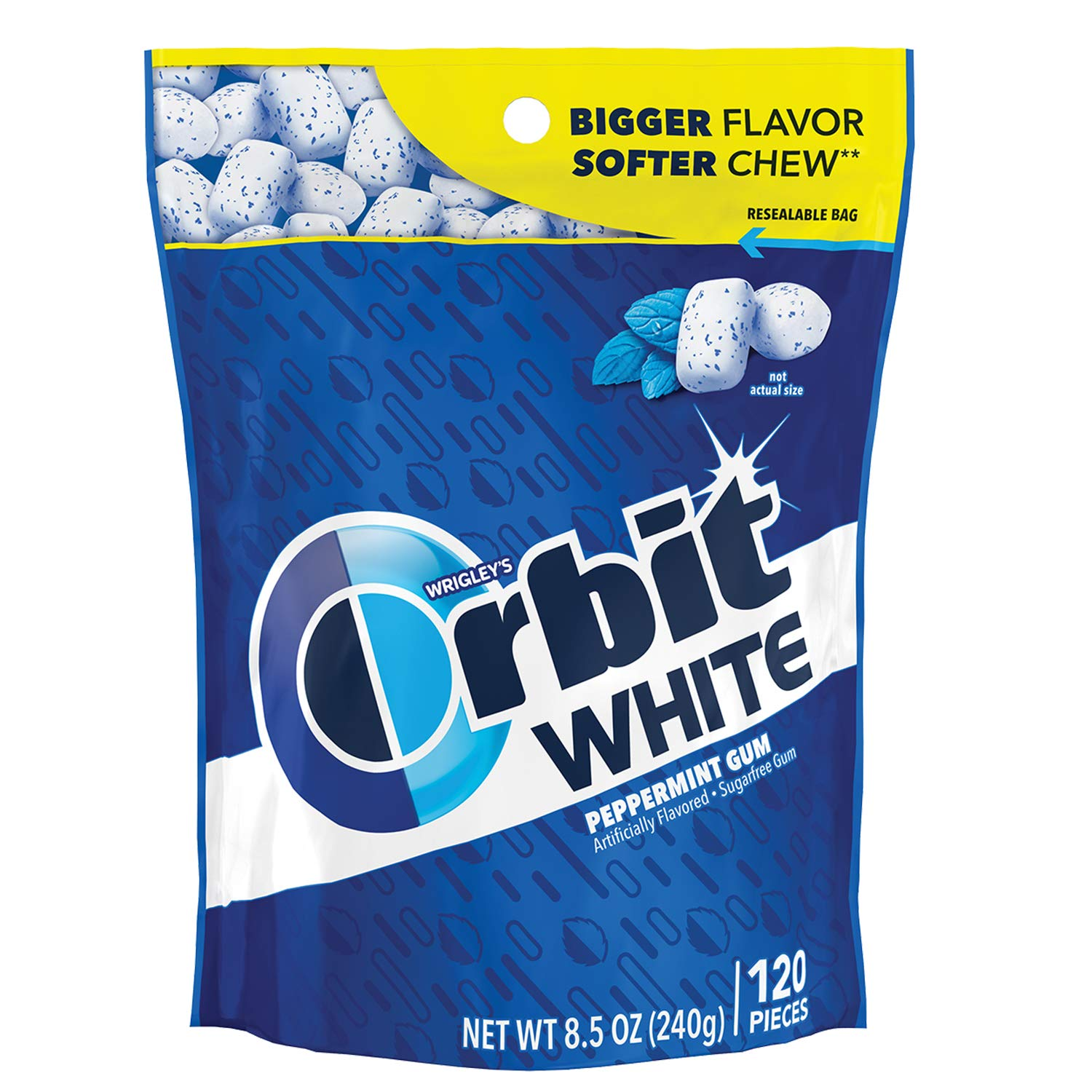 ORBIT Gum WHITE Peppermint Sugarfree Chewing Gum, 8.5 Ounces Resealable Bag 120 Pieces (Pack of 8) by Orbit Gum