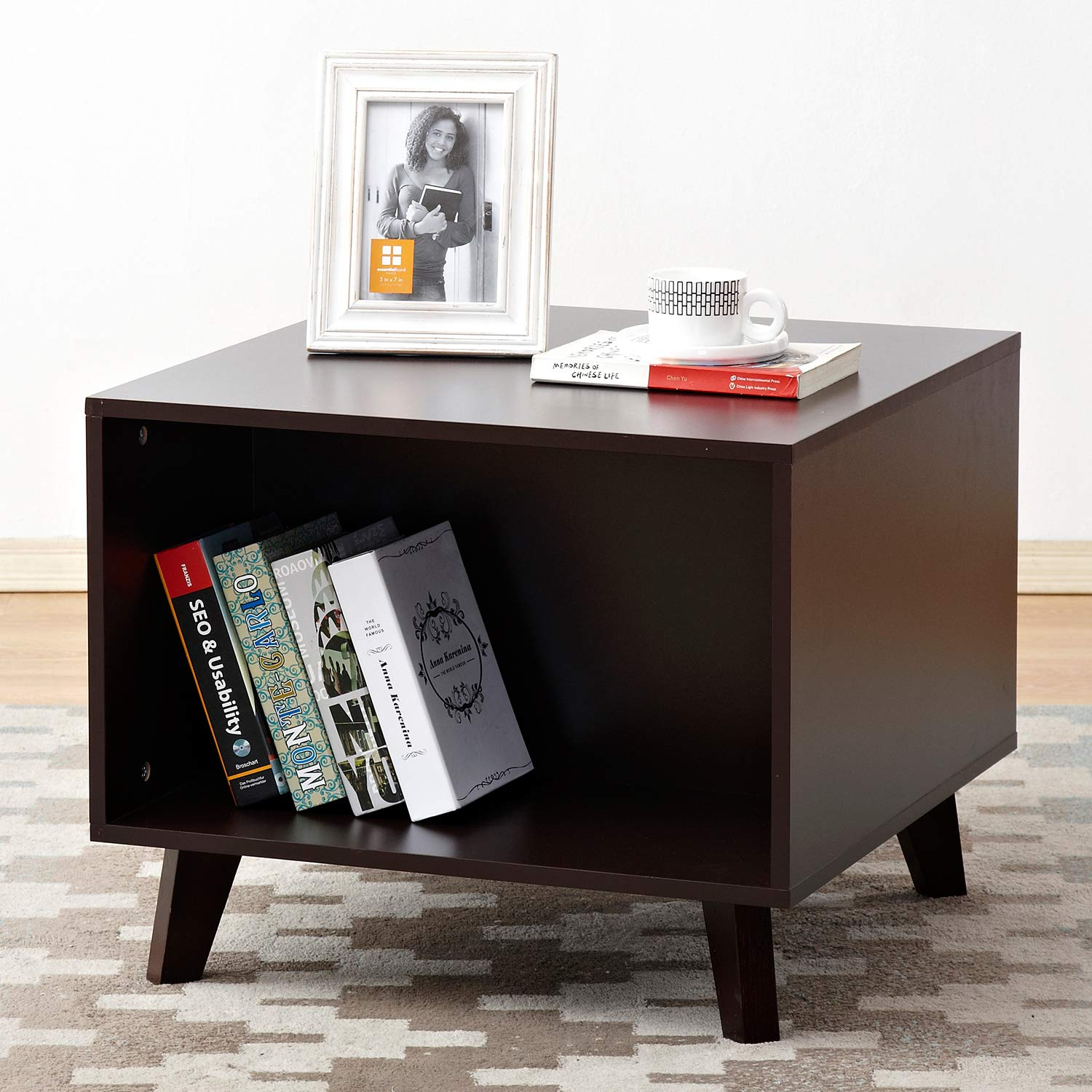 soges End Table 23.6 by 23.6 inch Night Stand Coffee Table Telephone Stand, Espresso HHCT002-CF