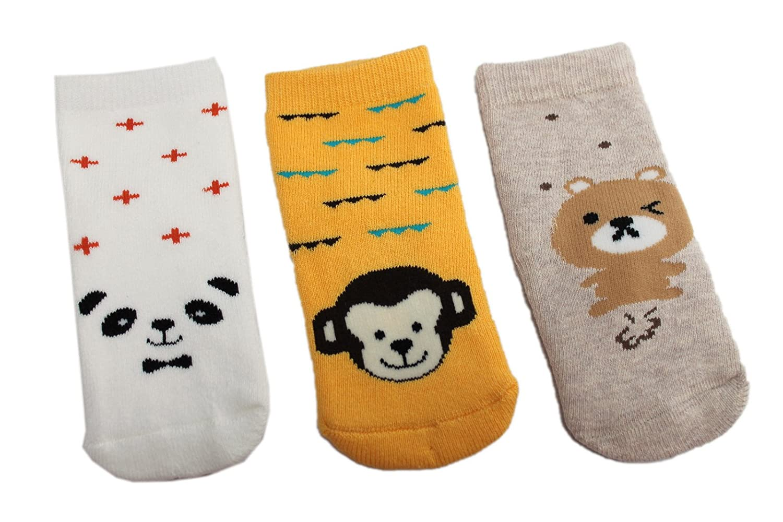Baby Boys Girls Winter Thick Cotton Socks Pack of 3 Animal Theme Panda Monkey Bear