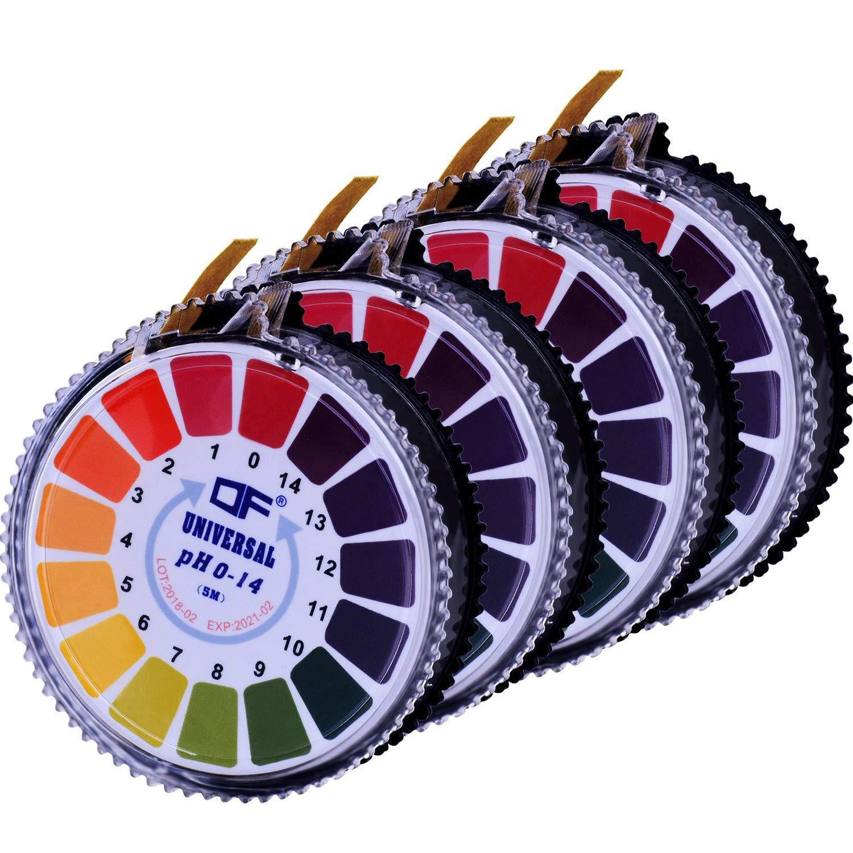 Aboat 4 Rolls pH Test Strips, Universal pH Test Paper Strips, pH Measure Full Range 0-14, 16.4 ft/Roll, Totally 65.6 ft