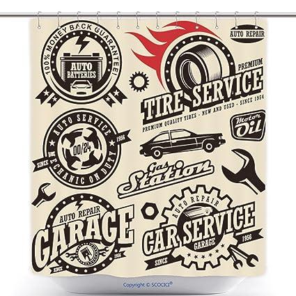 Cortinas de ducha durable coche Servicio símbolos automática y Motor Partes Retro Vector Car Icons collection