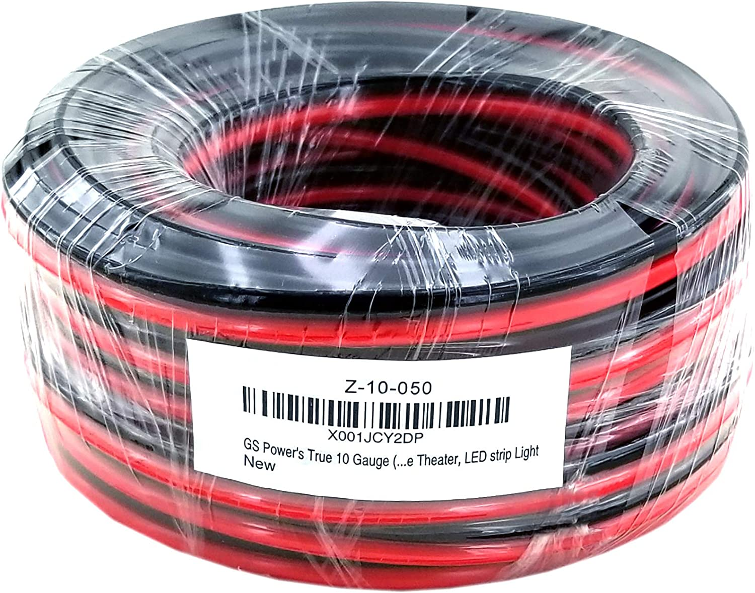 GS Power Flexible 10 AWG (American Wire Gauge) 50 Feet Stranded Oxygen Free Copper Red/Black Bonded Zip Cord Cable for Car Audio Stereo Amplifier 12Volt Automotive Harness LED Light Wiring: Automotive