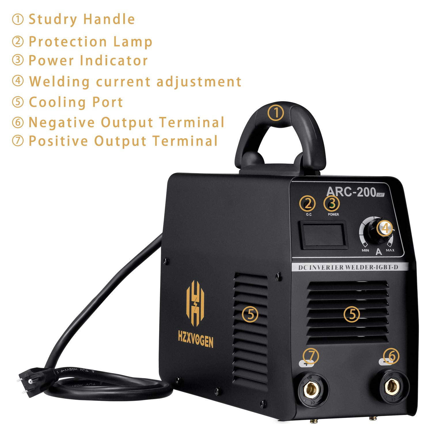 HZXVOGEN Arc Stick Welder IGBT DC Inverter MMA Arc 200A 220V ZX7 Rod Stick Mini Portable Welding Machine With Earth Clamp Electrode (ARC200)