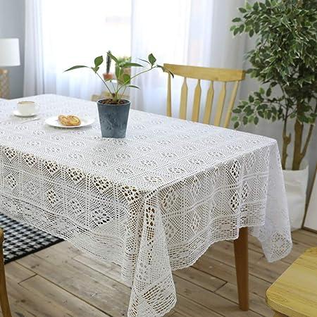 TWTIQ Americano de Punto Mantel Blanco Hollow Mantel de Algodón Mesa de Centro Mesa de Tela Cubierta de Tela Blanco Crochet Cuadrado 140 * 200: Amazon.es: Hogar