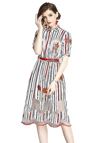 Moda Vestiti Eleganti 2018.2018 Donna Moda Sottile Striscia Ricamo Cava Vestito Elegante