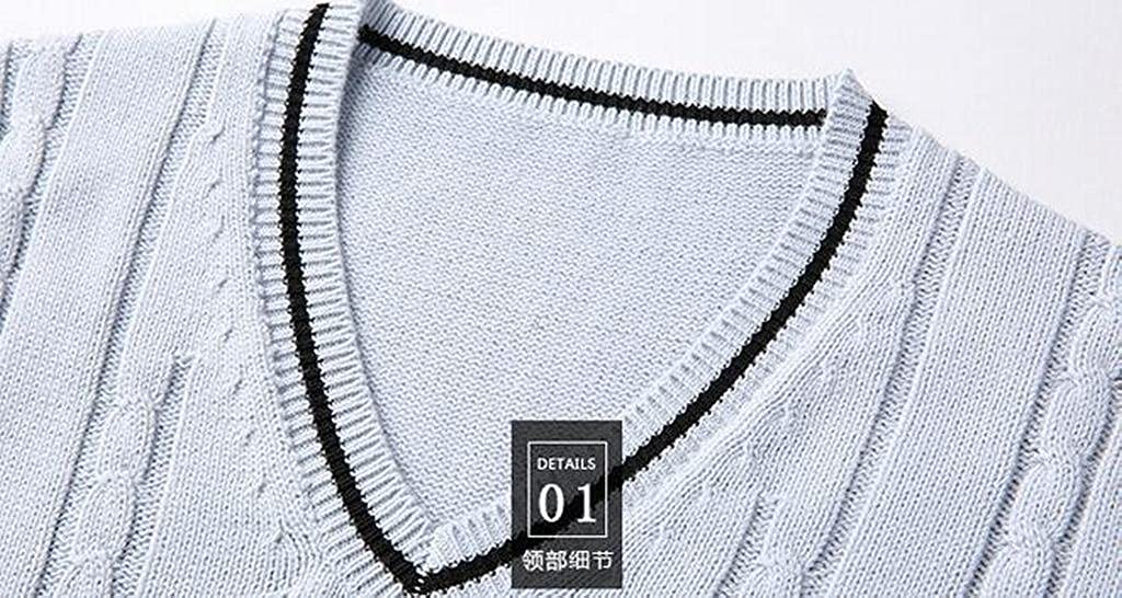 Jofemuho Mens Casual Business Knitted Twist Sleeveless Slim Fit V-Neck Sweater Vests