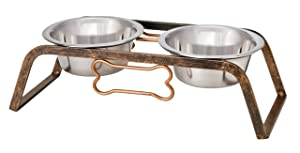 Loving Pets Black Label Collection Rustic Bone Diner for Dogs, Aged Copper