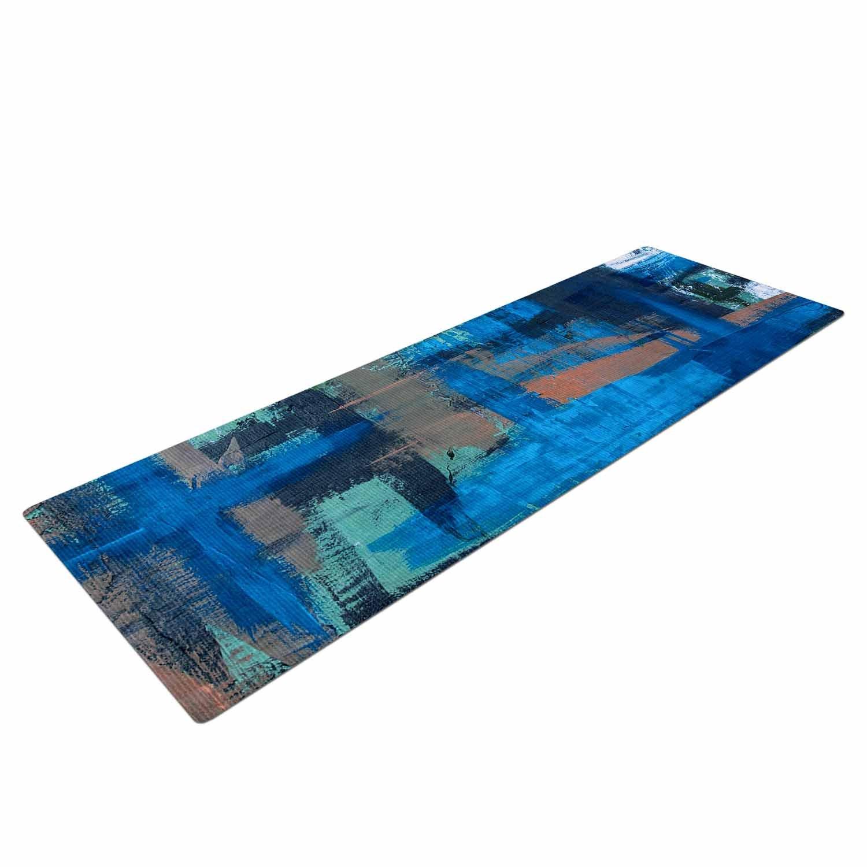 BS1062AYM01 Kess InHouse Bruce Stanfield Hyper Blue Beige Painting Yoga Mat 72 X 24 72 X 24 KESS Global Inc