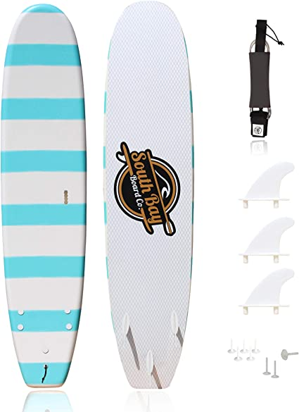 /& Fin Screws Easy Carry Handle Thruster Set Teenagers Basic Beginner Soft Top Foam Surfboards for Kids and Lightweight Adults-6 /& 8 Guppy-with 3 Rounded-Edge Soft-Top Surfboard Fins Leash