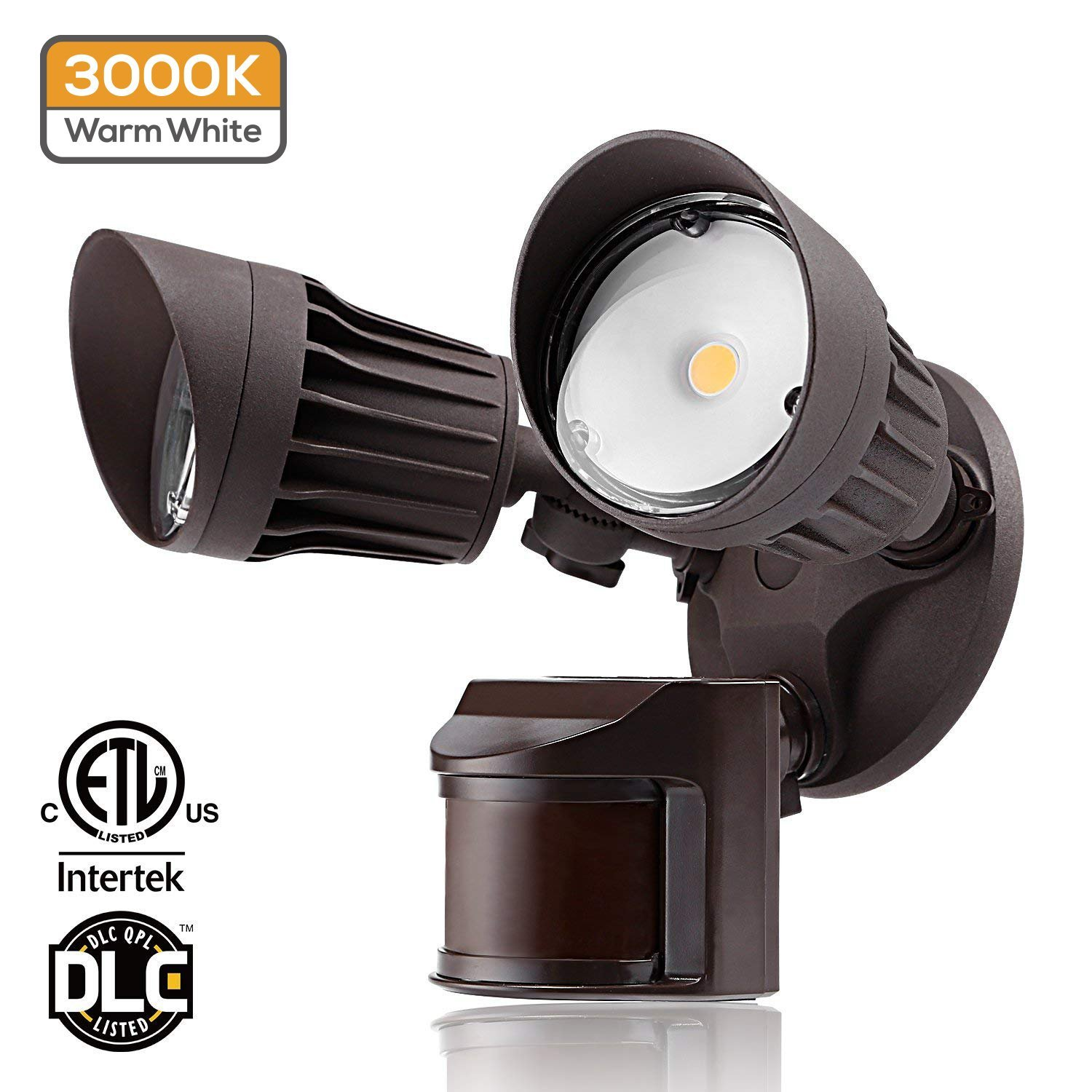 Dual-Head Motion Activated LED Outdoor Security Light, 20W (120W Equivalent), 3 Work Modes with Photo Sensor, 1600Lm Floodlight for Porch, Stairs, 3000K Warm White, Bronze