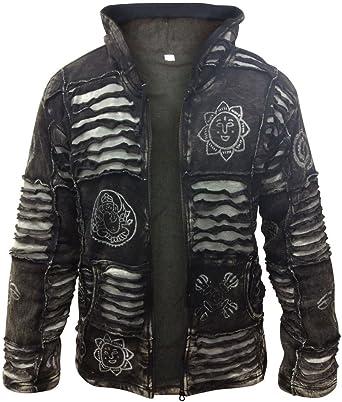 Mens Fleece Lined Stonewashed Razor Cut  Gothic Winter Jacket