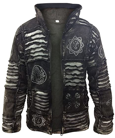 2902fe90d SHOPOHOLIC FASHION Mens Fleece Lined Black Goth Emo Winter Hippy Jacket