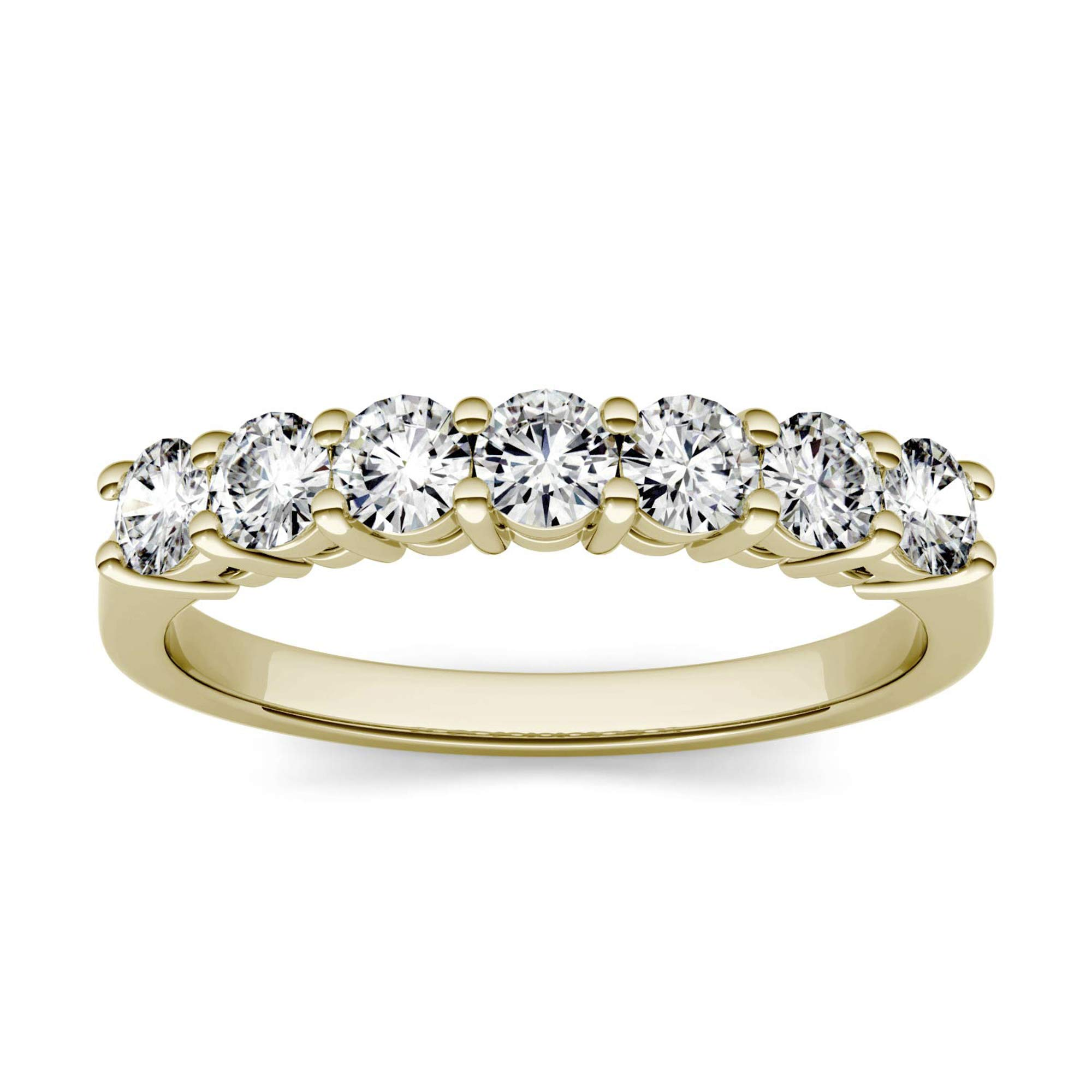 14K Yellow Gold 3.0mm Moissanite by Charles & Colvard Seven Stone Band- size 9, 0.70cttw DEW