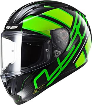LS2 Casco Moto FF323 Arrow R EVO Ion, Negro/Fluo Green, XXS