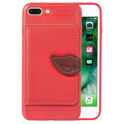 competitive price 14cdf 48a34 DAMONDY iPhone 8 Plus Case, iPhone 7 Plus Case, Luxury Leaf Wallet Purse  Card Holders Design Cover Soft Bumper Shockproof Flip Leather Kickstand  Case ...
