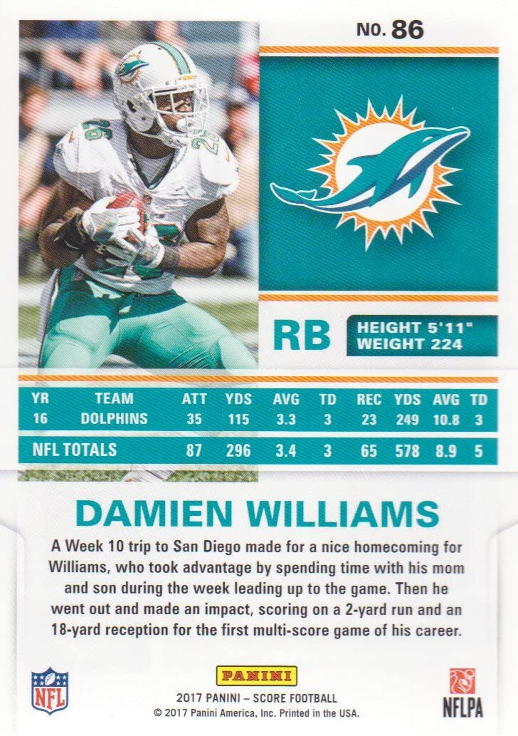 2017 Score Football 86 Damien Williams Miami Dolphins At Amazon S Sports Collectibles Store