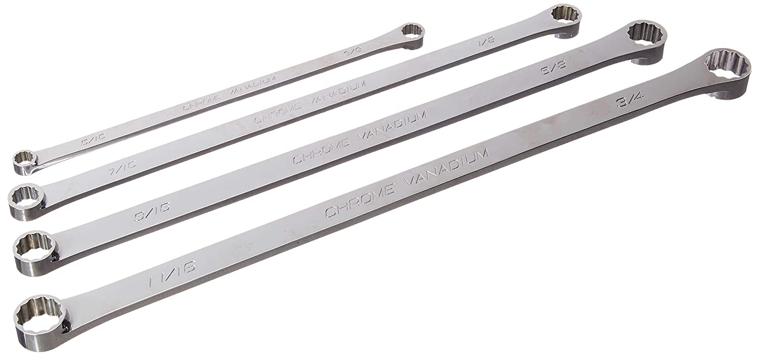 Genius Tools 4pc SAE Extra Long Box End Wrench Set DE-704S