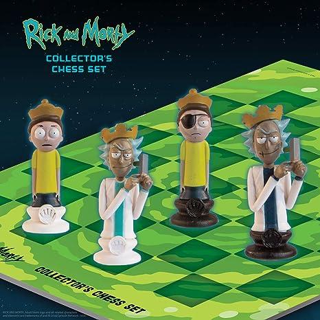 The Op Games Rick and Morty Juego de ajedrez para coleccionistas   32 piezas de ajedrez esculpidas personalizadas para adultos Nadar Rick y Morty personajes del Bueno y el mal   Juego