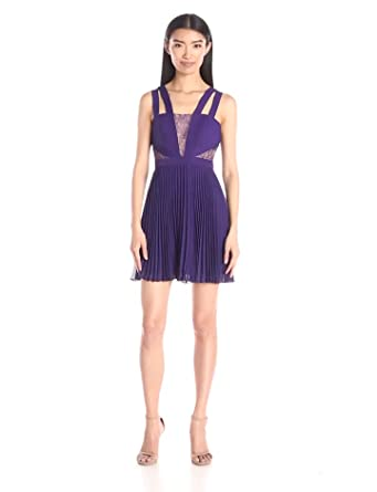 BCBGMax Azria Women's Tenzin Pleated Cocktail Dress with Lace Insets, Plum Berry, 0