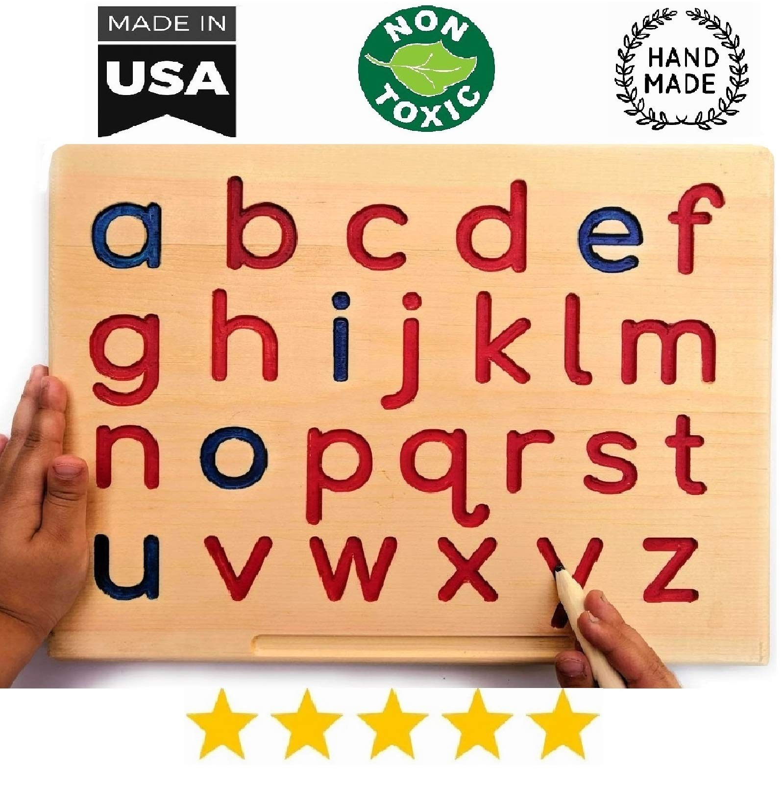 Montessori Lowercase Alphabet | Reversible ABC Letters Tracing Board with Wooden Pen by Cosmo-Crafts... (A- Lowercase NO Color) by cosmo-crafts.com