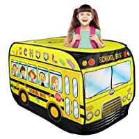Liberty Imports Kids Pop Up Play Tent | Foldable Indoor/Outdoor Playhouse for Toddlers, Boys and Girls (School Bus)