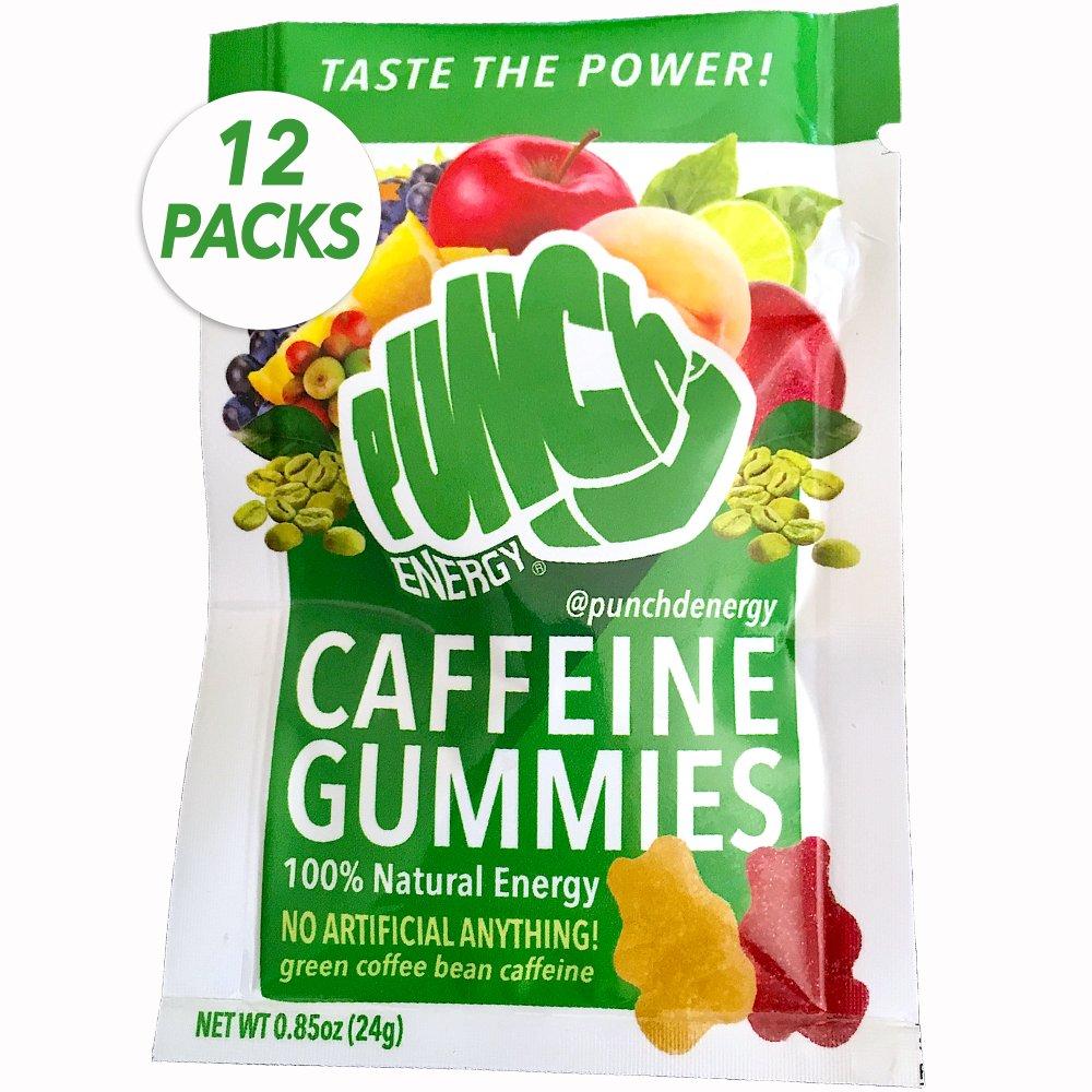 12-PACK Punch'd Natural Energy Caffeine Gummies: Premium Strong Green Coffee Bean Caffeine, Real Superfruits w/Vitamin C, Grab 'n Go Coffee Convenience, No Artificial Anything