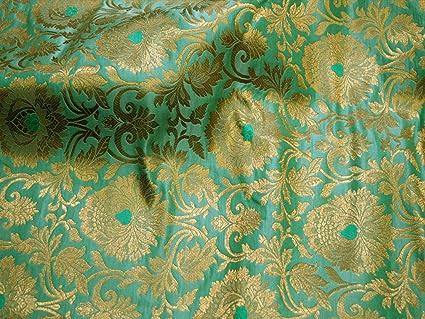 Amazon Com Mint Green Indian Fabric Silk Brocade Banarasi Wedding