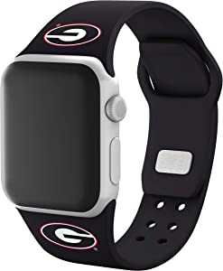 AFFINITY BANDS Georgia Bulldogs Silicone Sport Watch Band Compatible with Apple Watch (42mm/44mm - Black)