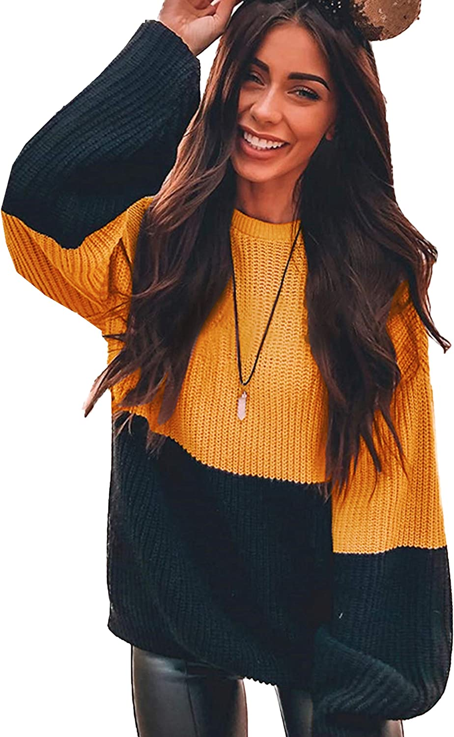 Sweaters Women/'s Fashion Chunky Shoulder Pullover Loose Shirt Oversized Students