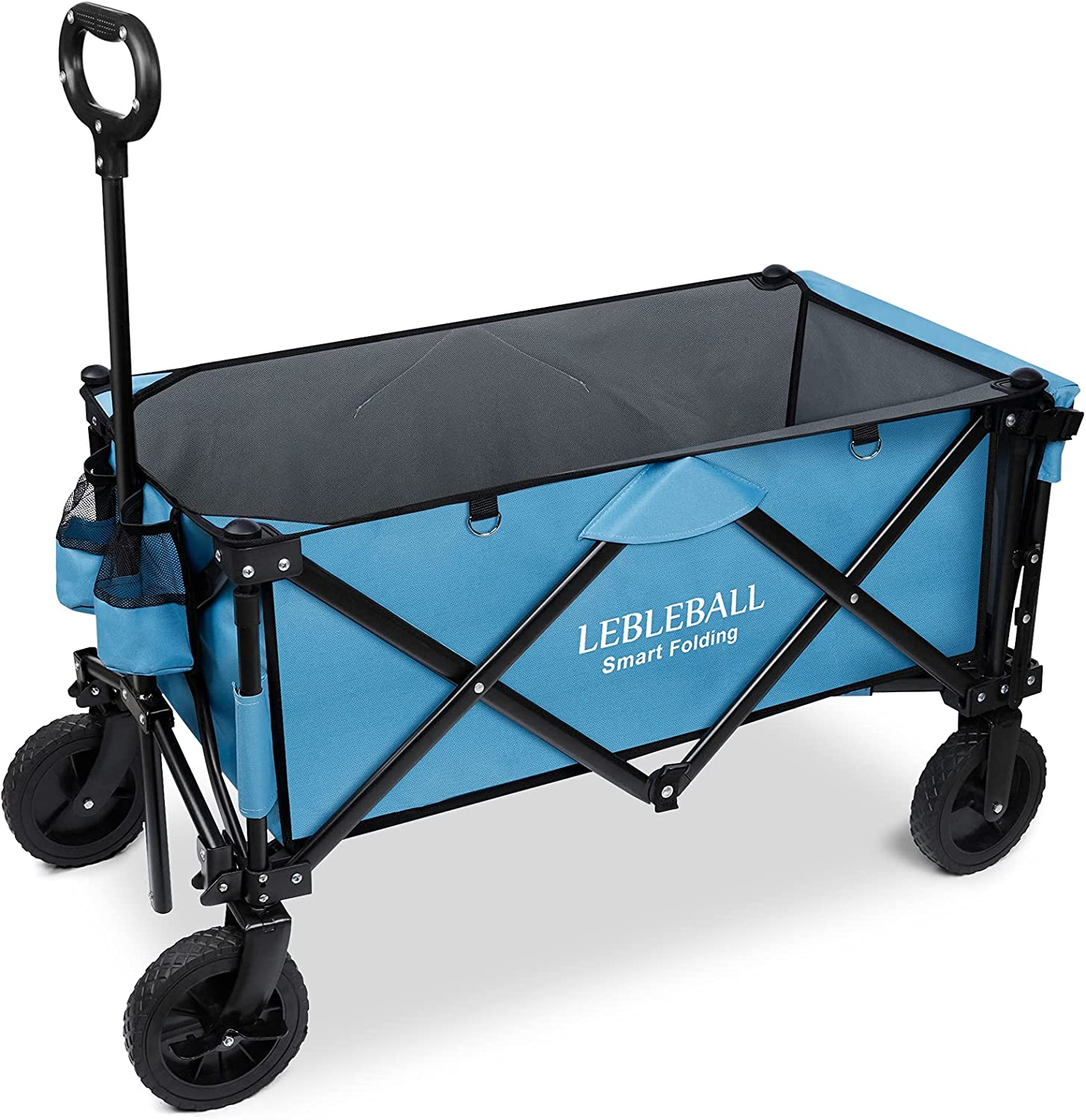 LEBLEBALL Outdoor Beach Collapsible Folding Portable Heavy Duty Large Capacity Utility Wagon All Terrain Wagon Cart with 2 Cup Holders and Big Wheels Brake for Beach, Camping, Garden-Blue