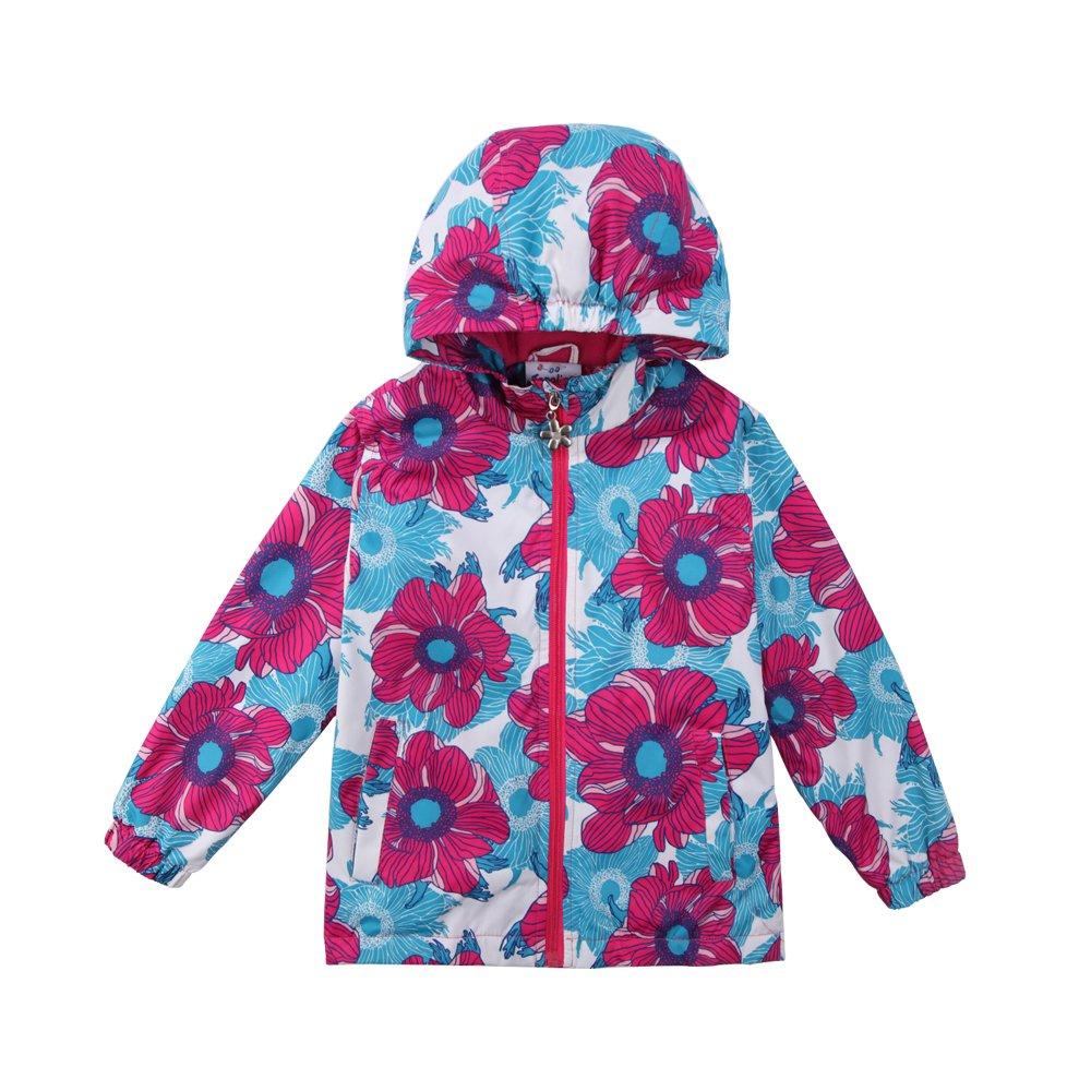Yilaku Girls Floral Fleece Lined Light Outdoor Windproof Jacket with Hood (6-7 Years, Red)