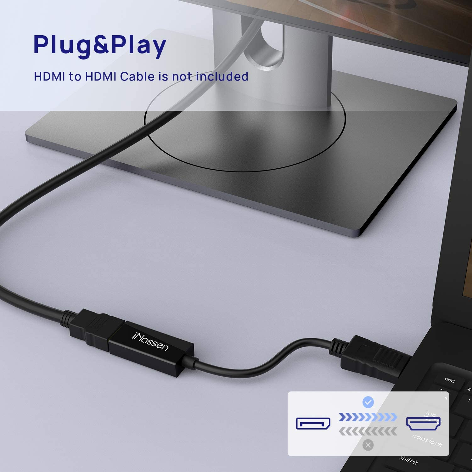 Display Port Projector etc Dell iNassen DP ThinkPad Displayport to HDMI Adapter Male to Hdmi Female Unidirectional Converter with Audio Support 4K@30Hz Compatible with Lenovo HP Asus,HDTV
