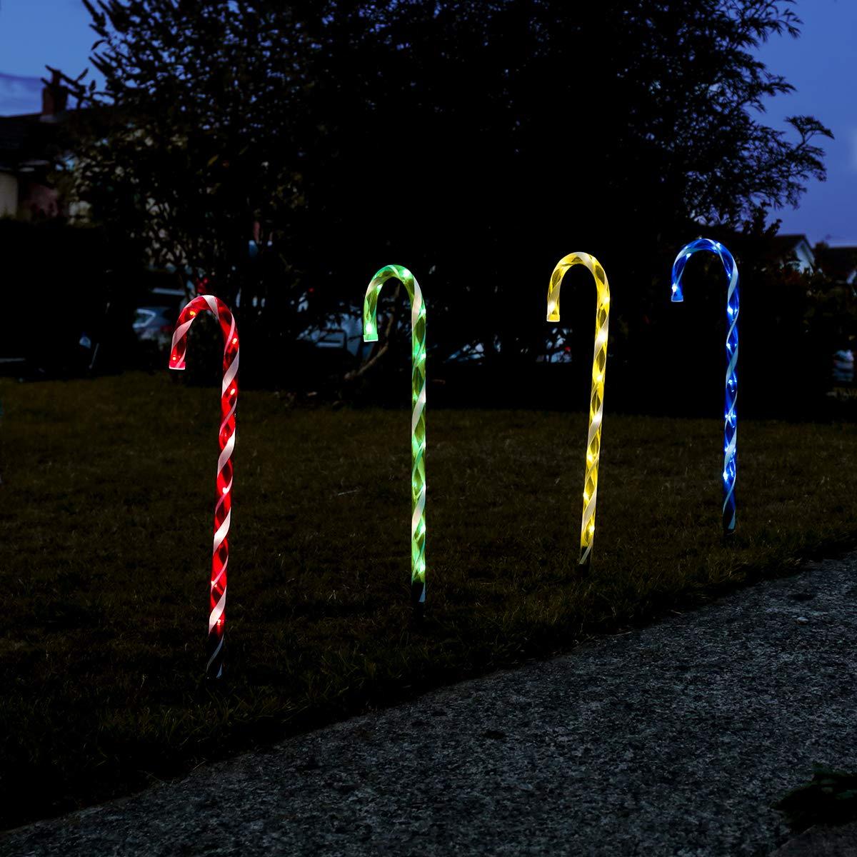 Illumination de No/ël 40 LED 76cm Festive Lights 4 Sucres dorge Lumineux /à Planter ou Suspendre Multicolore Waterproof