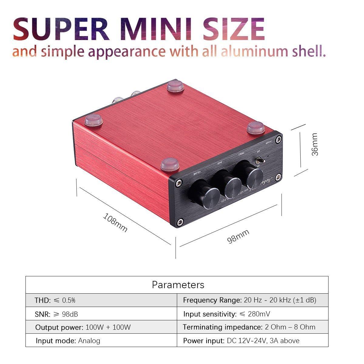 Nobsound Hi-Fi 200-Watt controllo treble amplificatore stereo bassi con alimentatore digital power