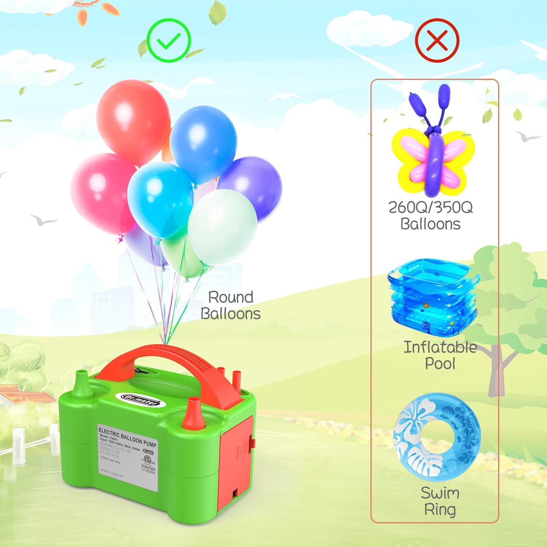 Dr.meter Bomba El/éctrica Inflar Globos Verde + Naranja Actividades promocionales y decoraci/ón de Fiestas (Verde y Naranja Bodas Bomba port/átil de Doble Boquilla Ideal para Fiestas cumplea/ños