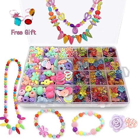 Girls Kids DIY Bracelet Arts Craft Make Own Beads Jewellery Making Set Box Kit