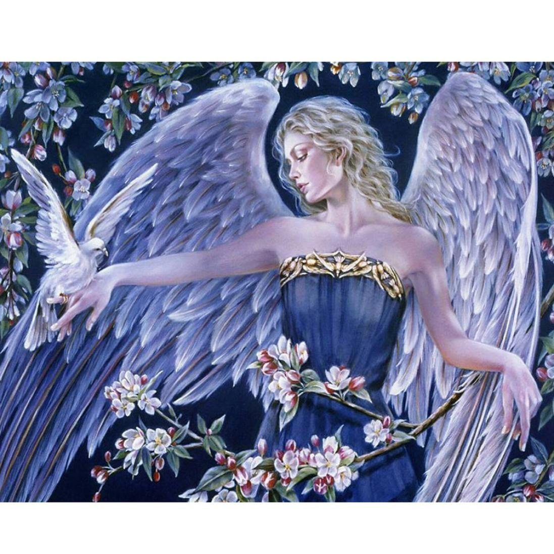 Vacally 5D DIY Diamond Painting ,Diamond Painting By Number Kits for Adults Full Square Drill Rhinestone Embroidery for Wall Decoration, Beautiful Angel