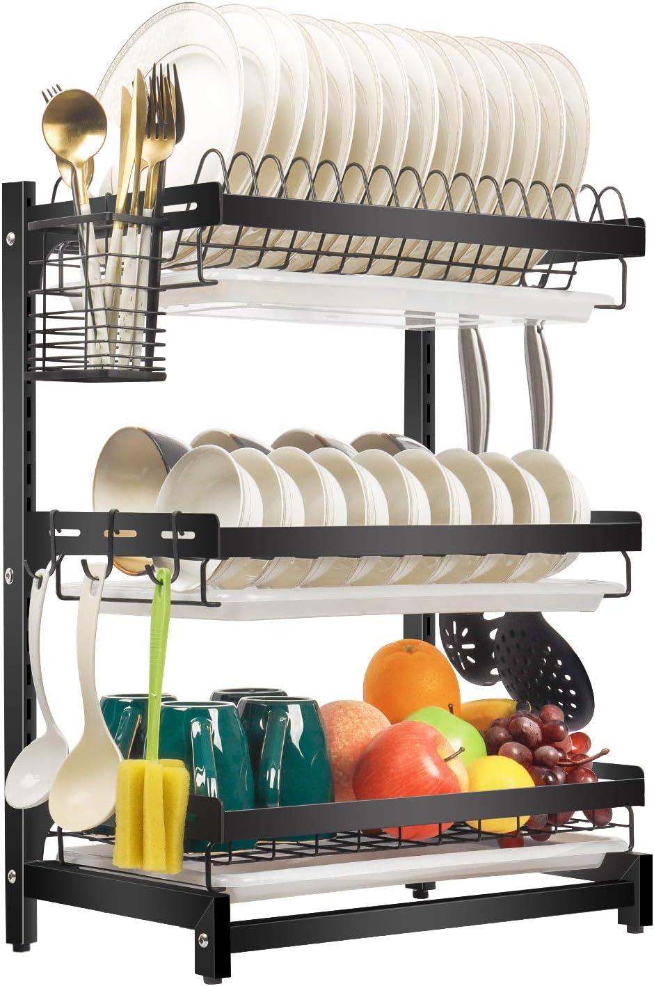 Escurridor de platos de X-cosrack, escurridor para la cocina, de acero inoxidable, superficie de goteo con platos y cuencos, extraíble, 3 niveles, color negro