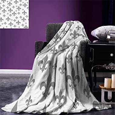 smallbeefly Fleur De Lis Custom printed Throw Blanket Ethnic Lily Pattern Classic Retro Royal Vintage European Iris Ornamental Artwork Velvet Plush Throw Blanket Grey