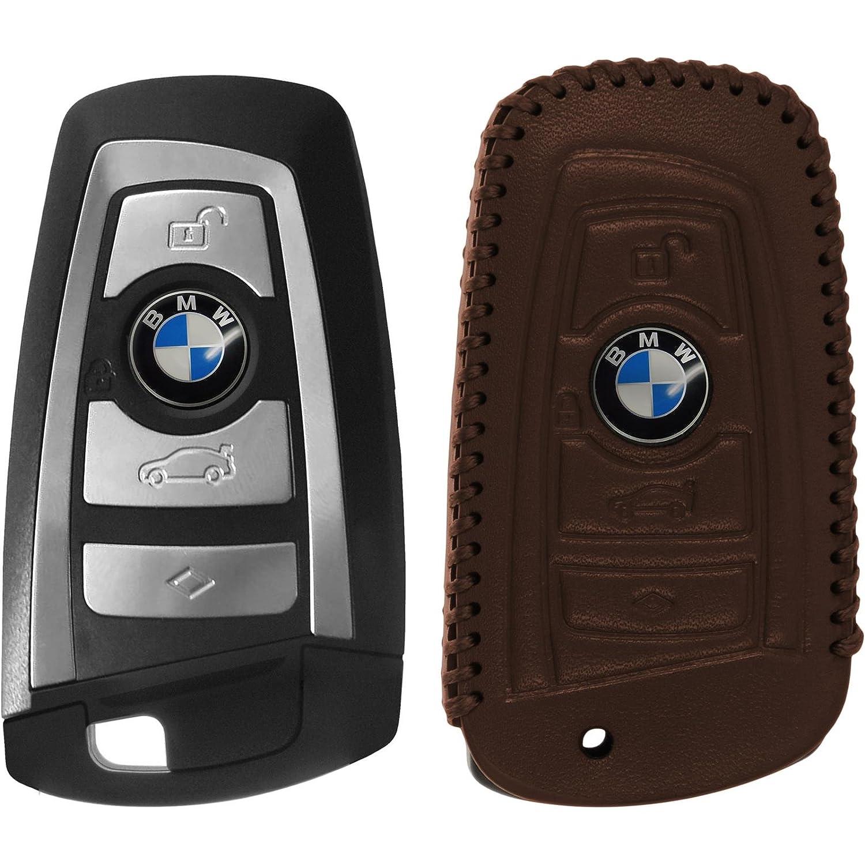 5er F10 und 7er F01 en marr/ón Llave Plegable de 4-Key PhoneNatic Funda de de Cuero Real Stitched para Mando de 4 Botones de BMW 3er E90