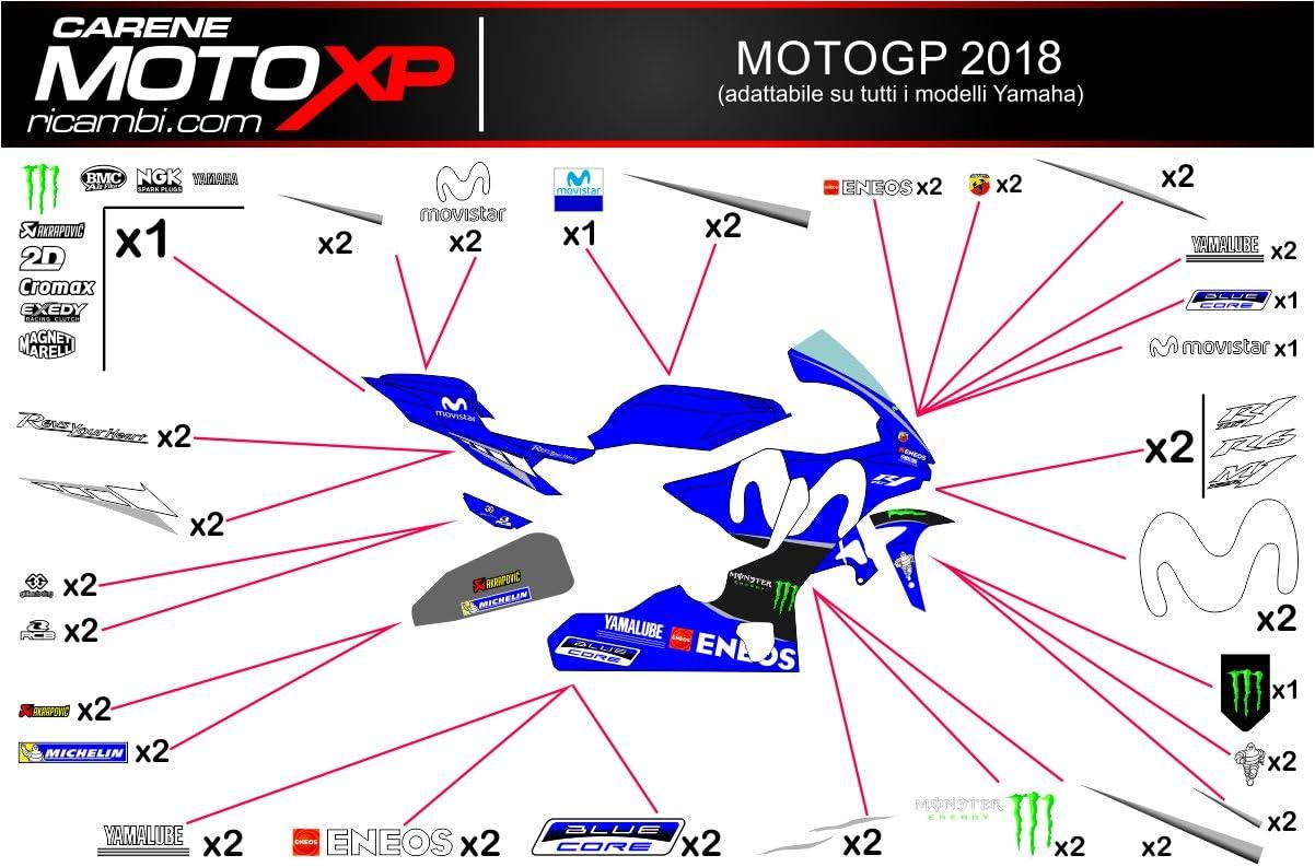 Pegatinas Adhesivos Motos Racing Yamaha R1 2015 2016 2017 2018 MT18: Amazon. es: Coche y moto