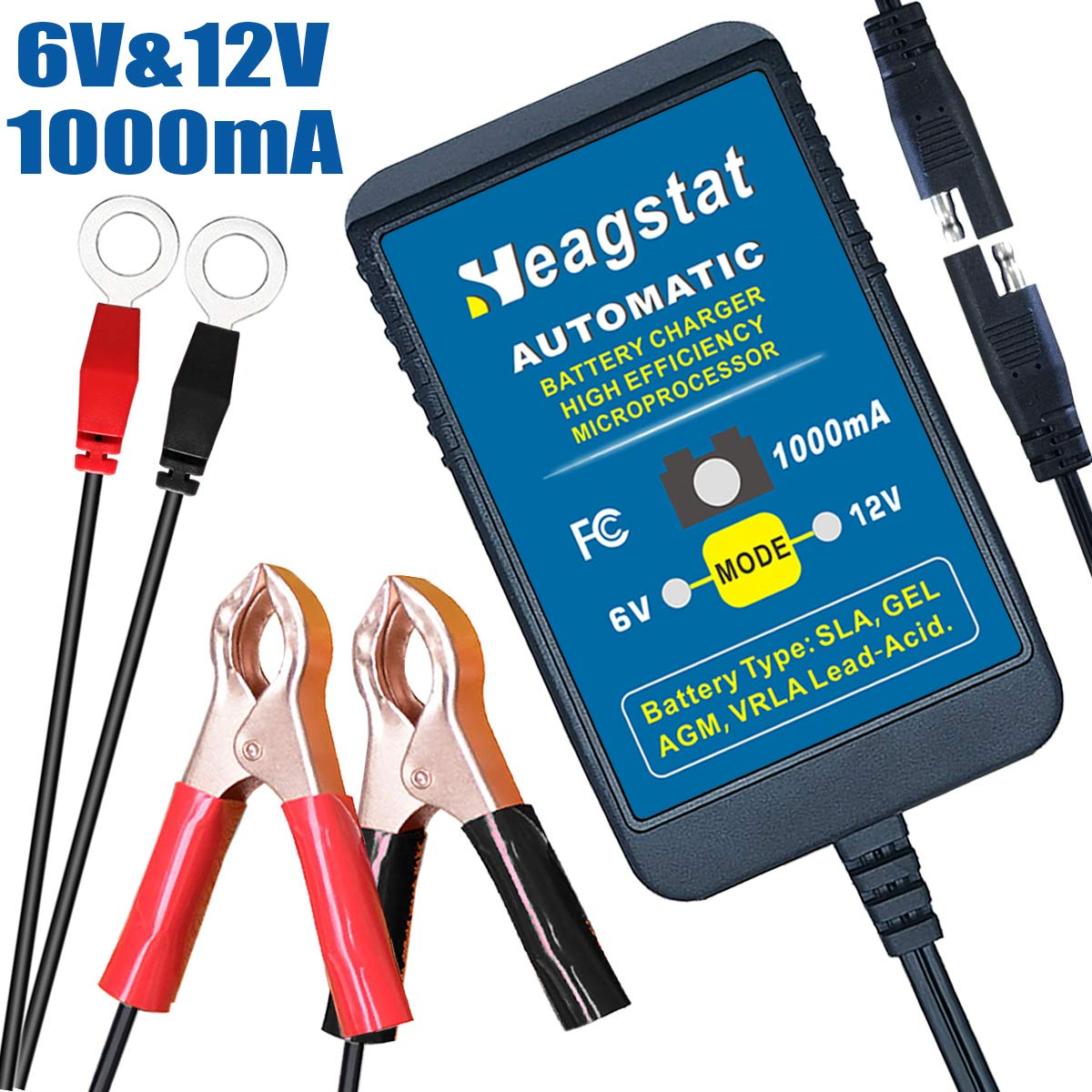 Heagstat Trickle Battery Charger 6V 12V 1000mA Automatic Smart Battery Maintainer for Auto Car Motorcycle Lawn Mower Boat ATV SLA AGM GEL CELL Lead Acid Batteries