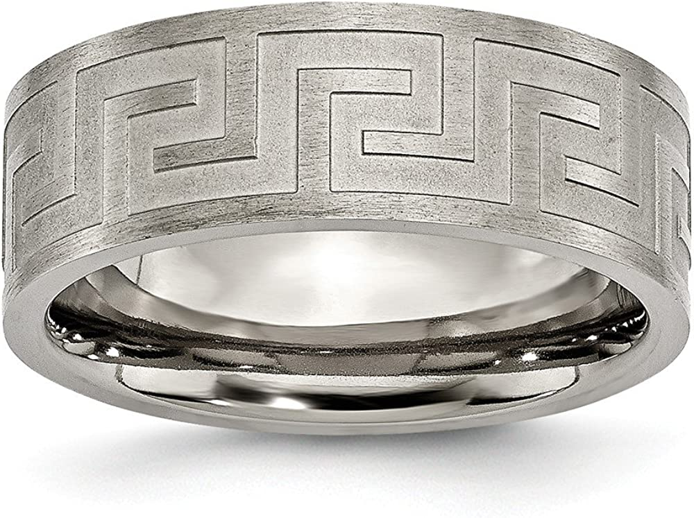 Titanium Jay Seiler Titanium Greek Key 8mm Satin /& Polished Band 7.5 Size