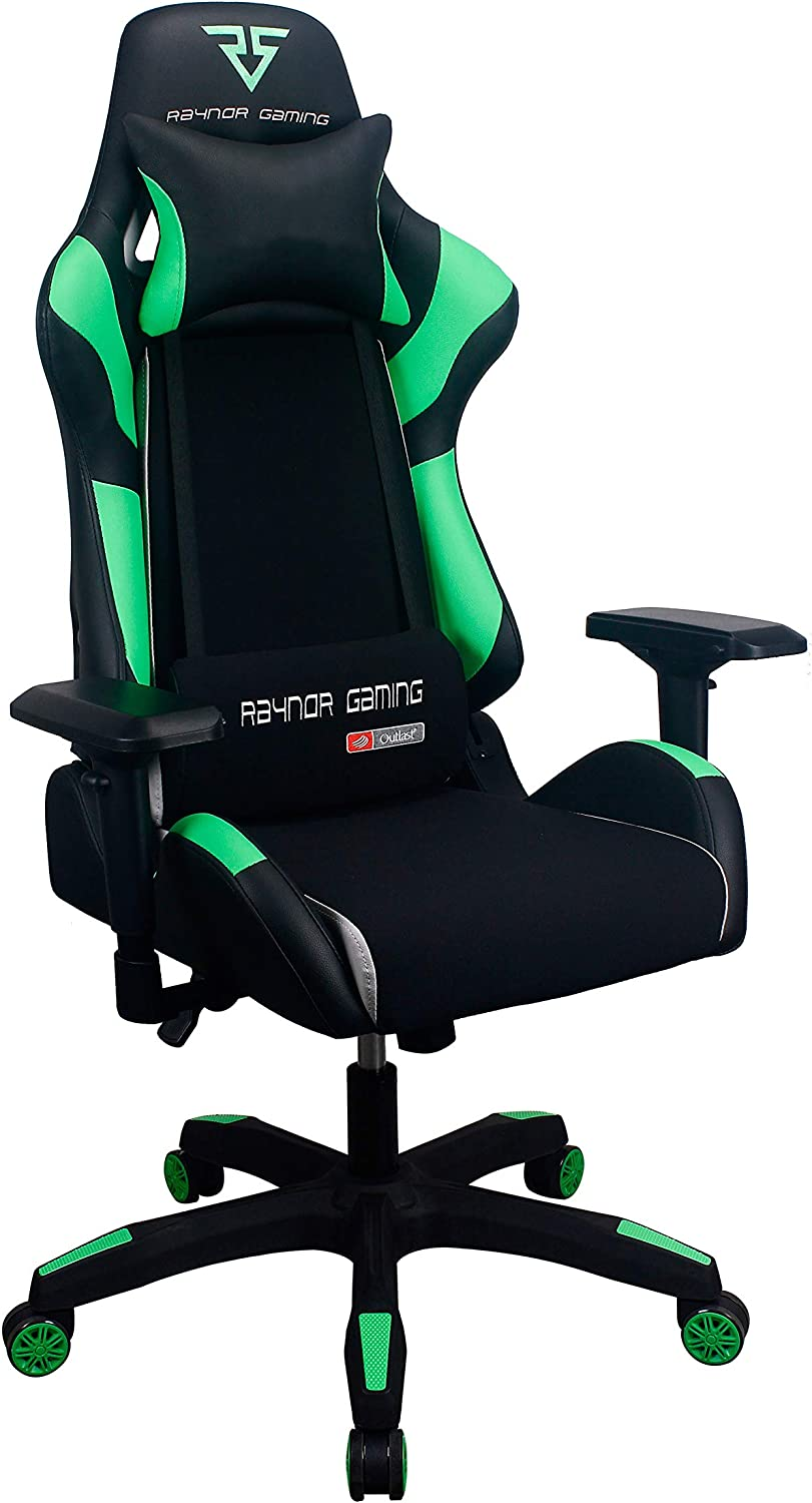 Raynor Gaming Energy Pro Series Gaming Chair Ergonomic Outlast Technology High-Back Racing Style Height Adjustable 4D Armrests Mesh and PU Leather with Lumbar Support Cushion, Headrest Pillow, Green