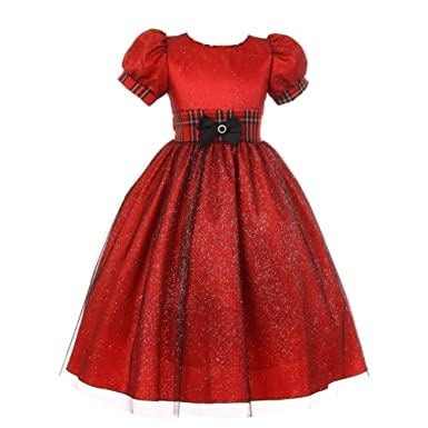 de247cc1d Amazon.com  Little Girls Red Glitter Tulle Taffeta Checker Trim Bow ...