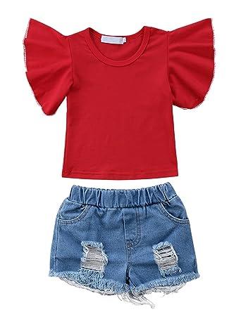 aa4d67e65f849e Sylvamorning 赤 ふわふわ 飛び袖 子供服 女の子Tシャツ ショーツ 2点セット 上下セット