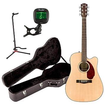 Fender cd-140sce parte superior sólida acústica guitarra eléctrica Natural W/funda, soporte, y sintonizador: Amazon.es: Instrumentos musicales